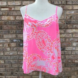 """Lilly Pulitzer silk"""" Pixie"""" top, L, hot coral, NWT"""